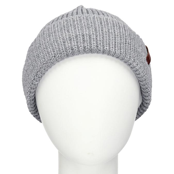 Šedá pletená čepice s ohrnutým okrajem bata, šedá, 909-2690 - 16