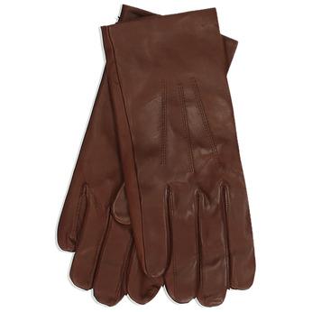 Hnědé pánské kožené rukavice s řasením junek, hnědá, 944-4123 - 13