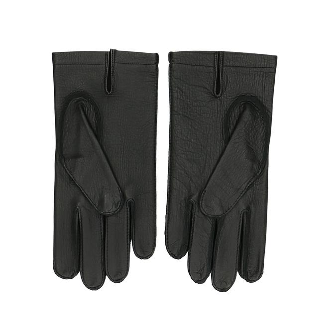 Černé dámské kožené rukavice s prošitým okrajem junek, černá, 944-6118 - 16