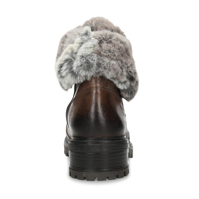 Hnědá kožená dámská kotníková obuv s kožíškem bata, hnědá, 594-4632 - 15