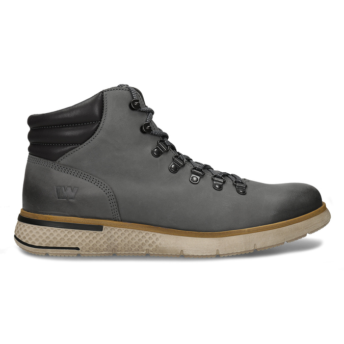 Šedá pánská kožená kotníková obuv na zimu weinbrenner, šedá, 896-2649 - 19