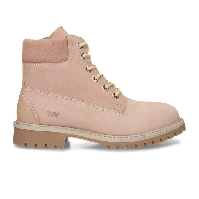 Světle růžová kožená dívčí kotníková obuv weinbrenner, růžová, 426-5614 - 19