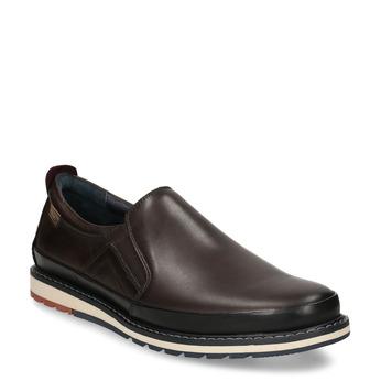 Pánská kožená slip-on obuv hnědá pikolinos, hnědá, 836-4602 - 13