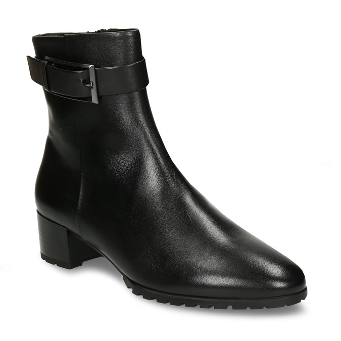 Černá dámská kožená kotníková obuv zimní hogl, černá, 694-6619 - 13