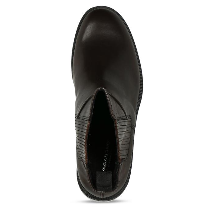 Hnědá dámská kožená kotníková obuv vagabond, hnědá, 594-4625 - 17