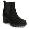 Černá dámská kožená Chelsea obuv na podpatku vagabond, černá, 796-6607 - 13