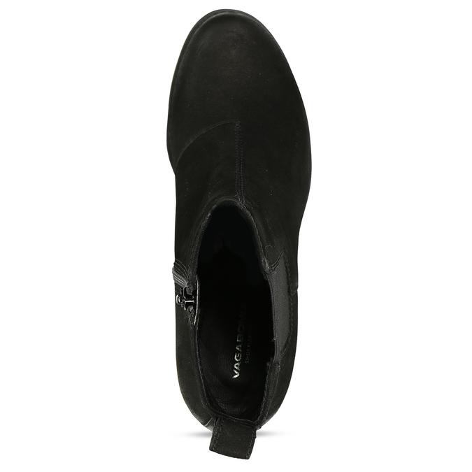 Černá dámská kožená Chelsea obuv na podpatku vagabond, černá, 796-6607 - 17