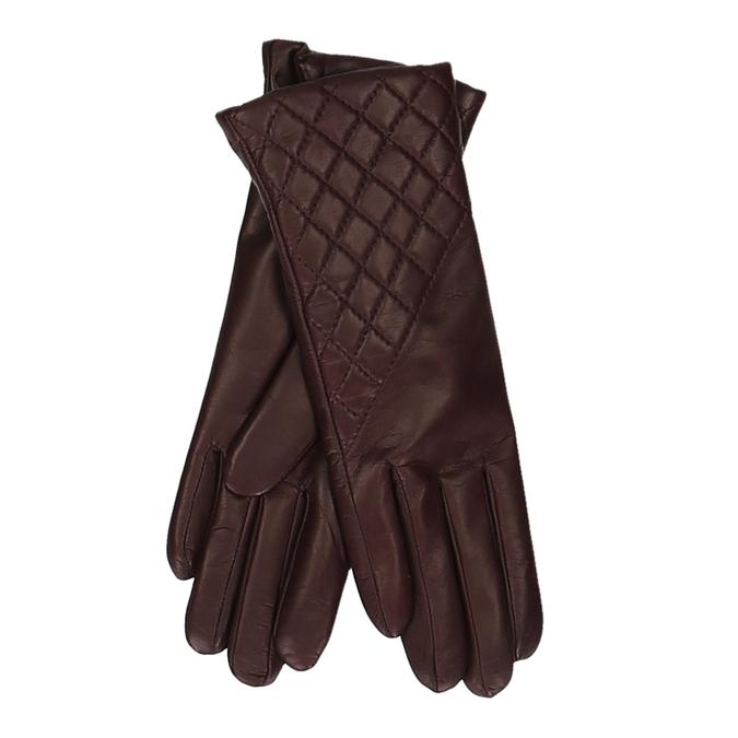 Vínové dámské kožené rukavice s prošitím junek, červená, 944-5128 - 13