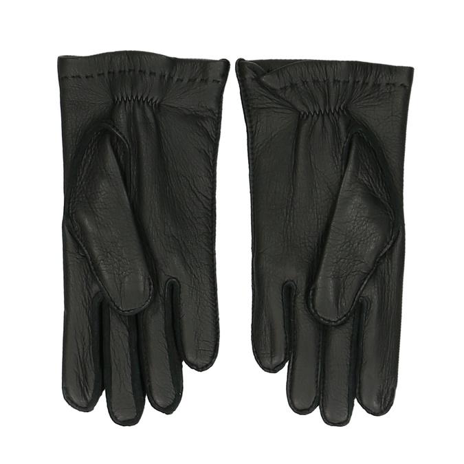 Černé pánské kožené rukavice junek, černá, 944-6140 - 16
