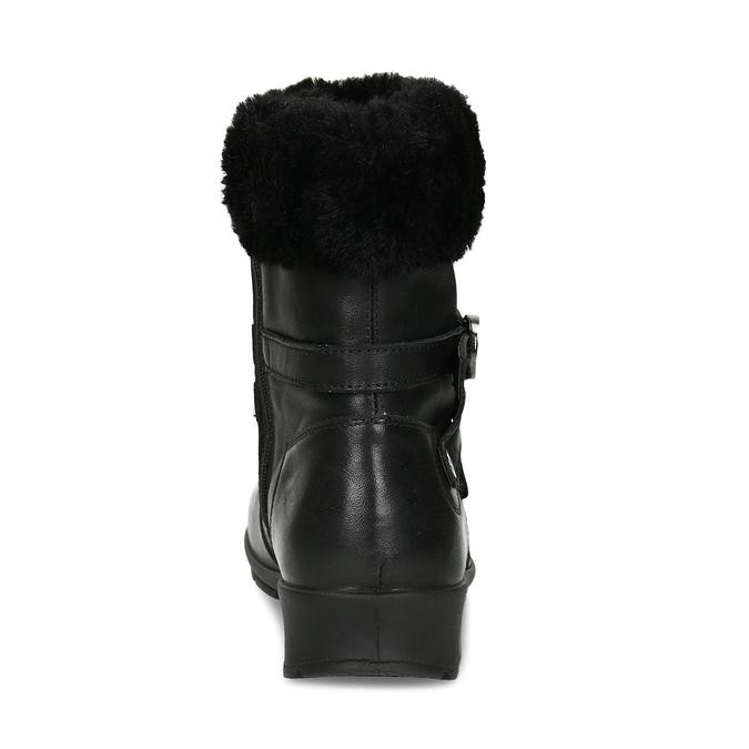 Černá dámská kožená kotníková obuv s kožíškem comfit, černá, 594-6725 - 15