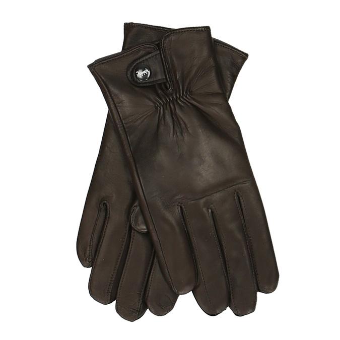 Hnědé pánské kožené rukavice s řasením a drukem junek, hnědá, 944-4112 - 13