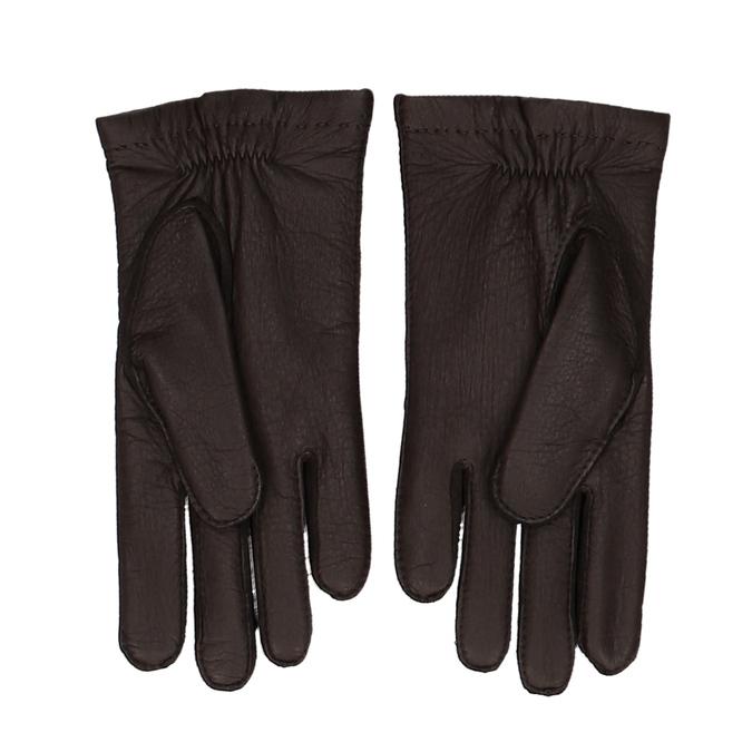 Tmavě hnědé pánské kožené rukavice s řasením junek, hnědá, 944-4140 - 16