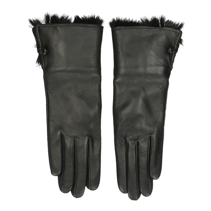 Černé dámské rukavice s huňatou podšívkou junek, černá, 944-6152 - 26