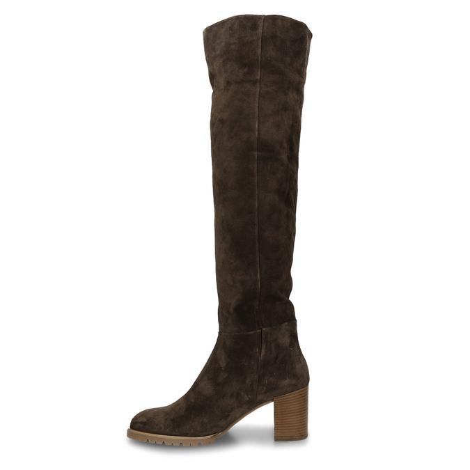 Hnědé dámské kožené kozačky nad kolena hogl, hnědá, 693-4605 - 17