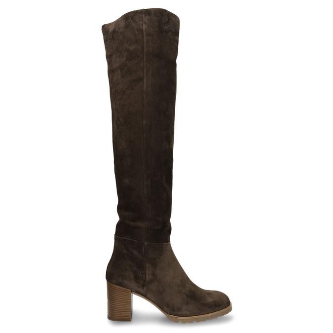 Hnědé dámské kožené kozačky nad kolena hogl, hnědá, 693-4605 - 19