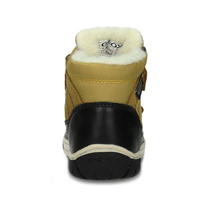 Žluto-černá kožená chlapecká zimní obuv s kožíškem geox, žlutá, 196-8148 - 15