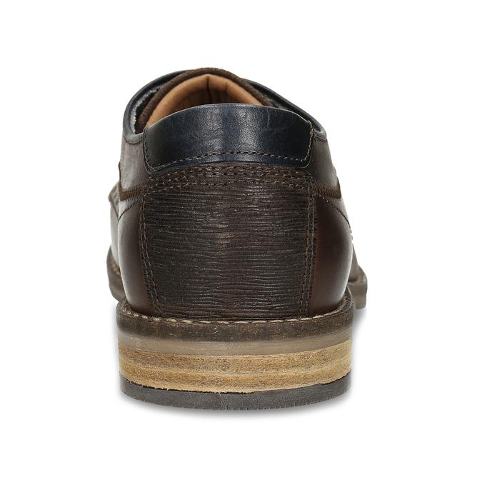 Hnědé pánské neformální kožené polobotky bata, hnědá, 826-4627 - 15
