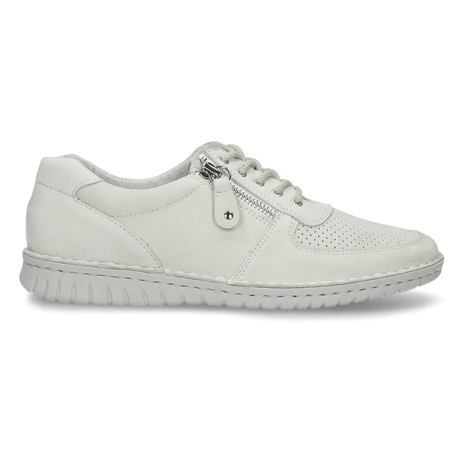 KOŽENÉ DÁMSKÉ BÉŽOVÉ TENISKY S PERFORACÍ bata, bílá, 526-1600 - 19