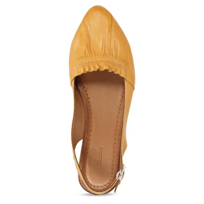 Hořčicově žluté dámské kožené sandály s uzavřenou špičkou bata, žlutá, 526-8623 - 17