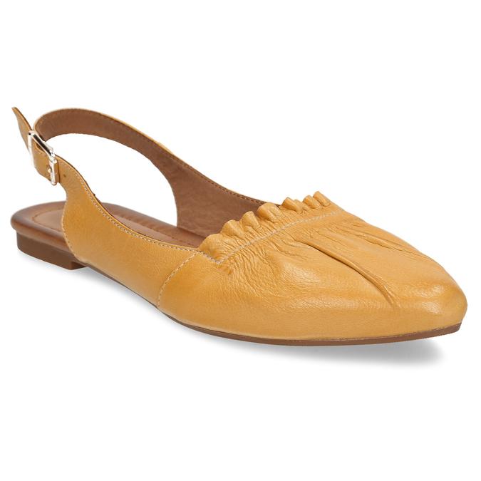 Hořčicově žluté dámské kožené sandály s uzavřenou špičkou bata, žlutá, 526-8623 - 13