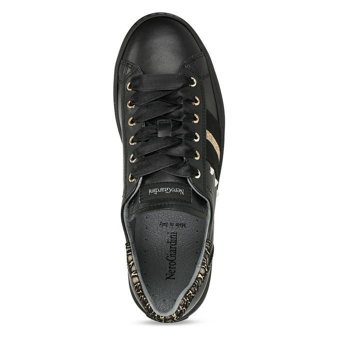 Černé kožené dámské tenisky nerogiardini, černá, 544-6622 - 17