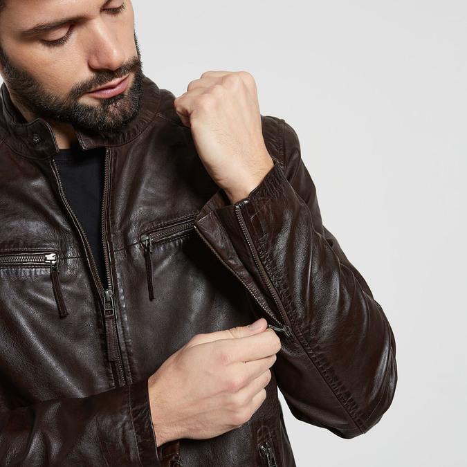 Hnědá kožená pánská bunda bata, hnědá, 974-4205 - 16