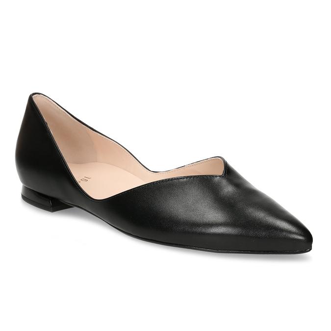 Černé kožené dámské lodičky na nízkém podpatku hogl, černá, 524-6636 - 13