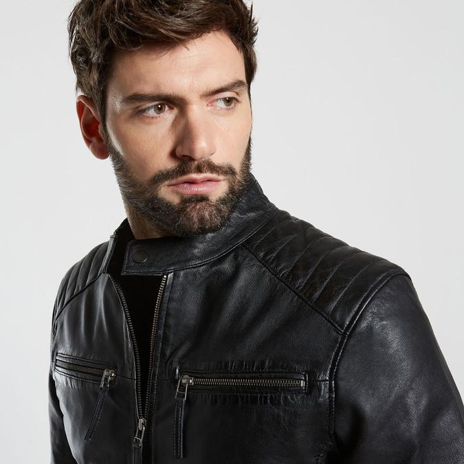 Černá kožená pánská bunda bata, černá, 974-6205 - 16