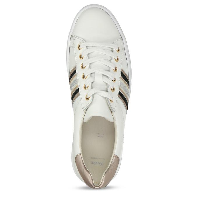 Bílé kožené dámské tenisky na vyšší podešvi bata, bílá, 544-1623 - 17