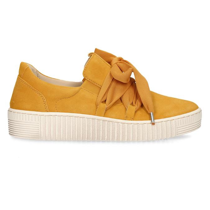 Žlutá kožená dámská slip-on obuv gabor, žlutá, 544-8626 - 19