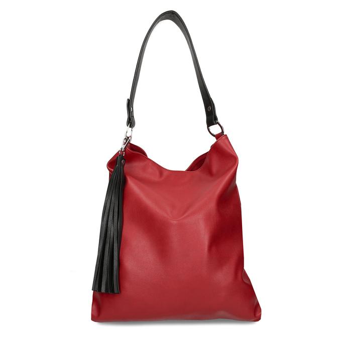 Červená dámská koženková kabelka s černým uchem bata, červená, 961-5670 - 26