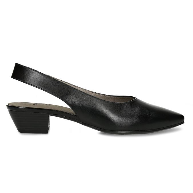 Černé dámské kožené lodičky s otevřenou patou bata, černá, 624-6644 - 19
