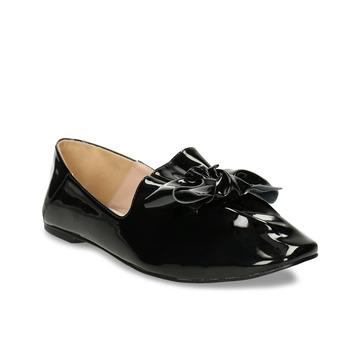 Černé dámské lakované baleríny s mašlí bata, černá, 521-6614 - 13