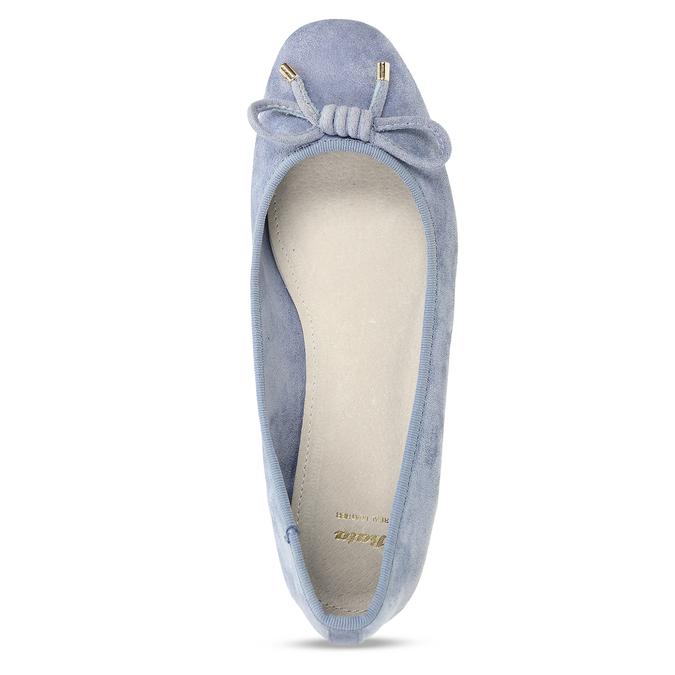 Modré dámské baleríny s mašlí bata, modrá, 529-9606 - 17