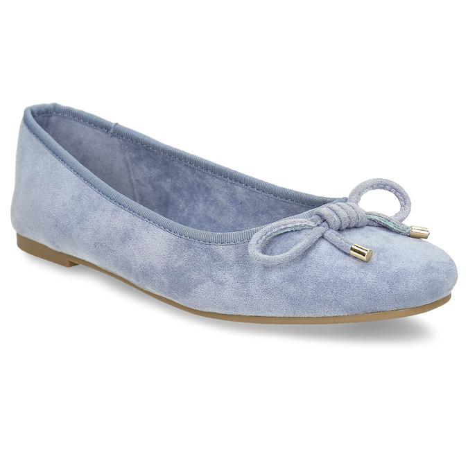 Modré dámské baleríny s mašlí bata, modrá, 529-9606 - 13