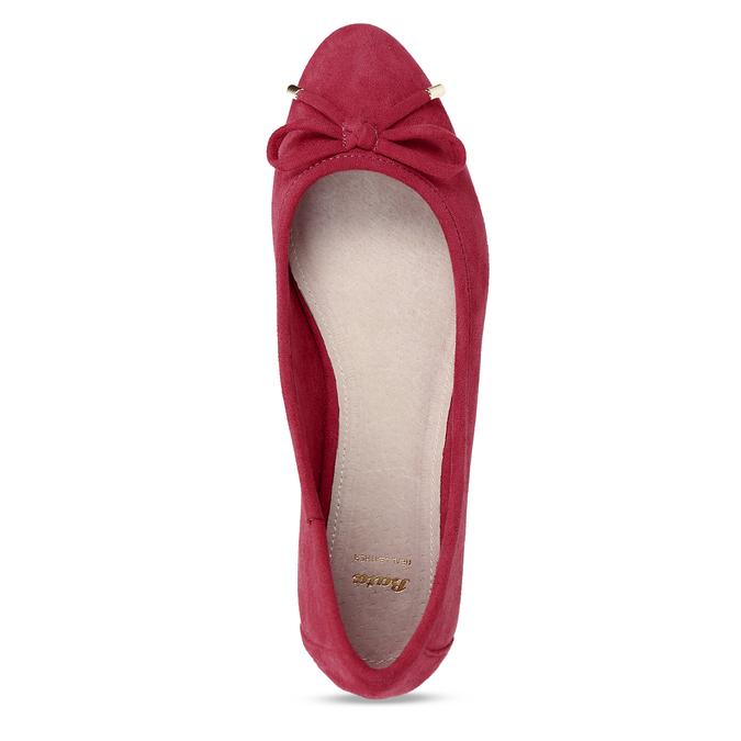 Červené dámské baleríny s mašlí bata, červená, 529-5607 - 17