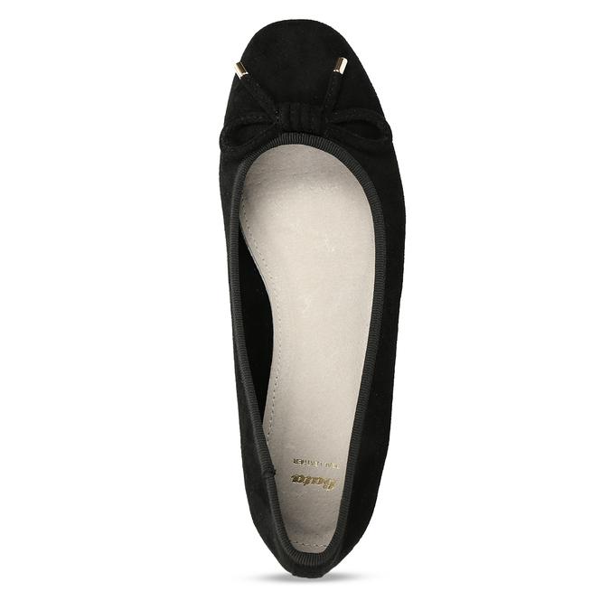 Černé dámské baleríny s mašlí bata, černá, 529-6606 - 17