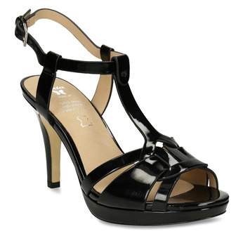 Černá dámská obuv s koženou stélkou na vysokém podpatku bata, černá, 751-6600 - 13