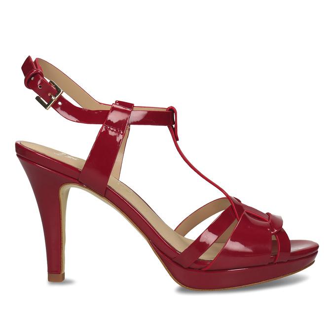 Červená dámská obuv s koženou stélkou na vysokém podpatku bata, červená, 751-5600 - 19