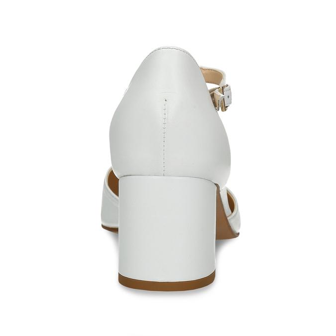 Bílé kožené lodičky na stabilním podpatku bata, bílá, 724-1600 - 15
