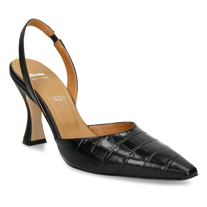 Černé dámské kožené lodičky s otevřenou patou bata, černá, 726-6600 - 13