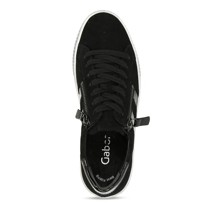Černé dámské kožené tenisky se zipem na straně gabor, černá, 543-6600 - 17