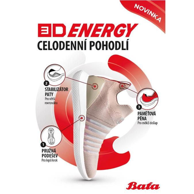 Bílo-stříbrná dámské sportovní tenisky bata-3d-energy, bílá, 549-1609 - 19