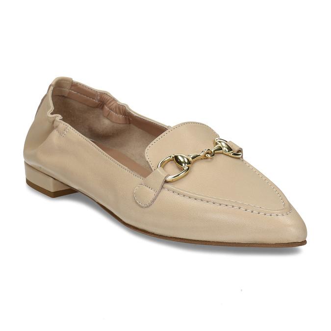 Béžové dámské kožené mokasíny s kovovou přezkou bata, béžová, 514-8610 - 13