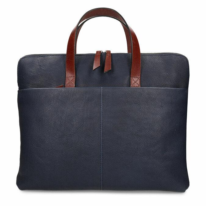 Modrá pánská kožená taška na notebook bata, modrá, 964-9652 - 26