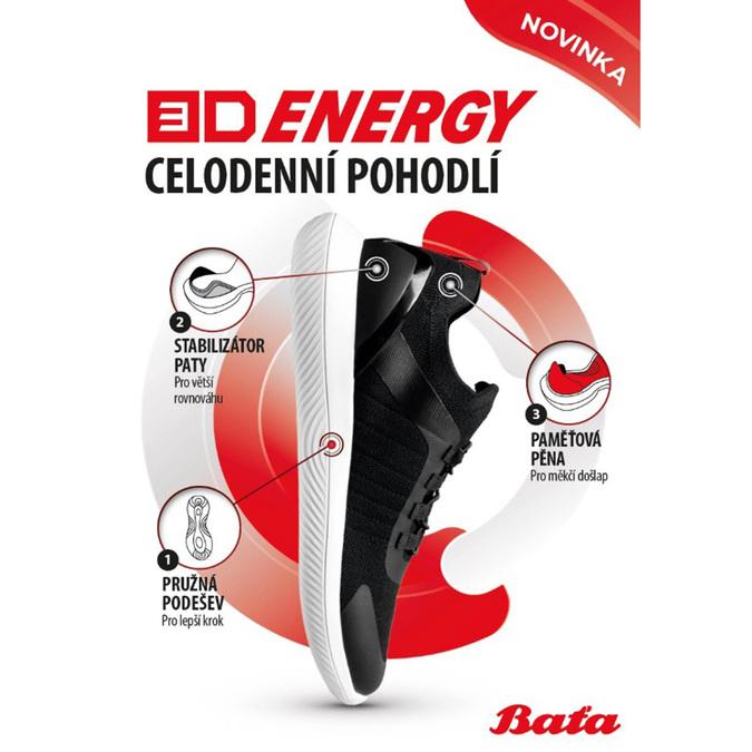 Černé pánské sportovní tenisky bata-3d-energy, černá, 849-6603 - 19