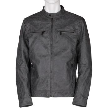 Šedá pánská koženková bunda se zipem bata, šedá, 971-2288 - 13