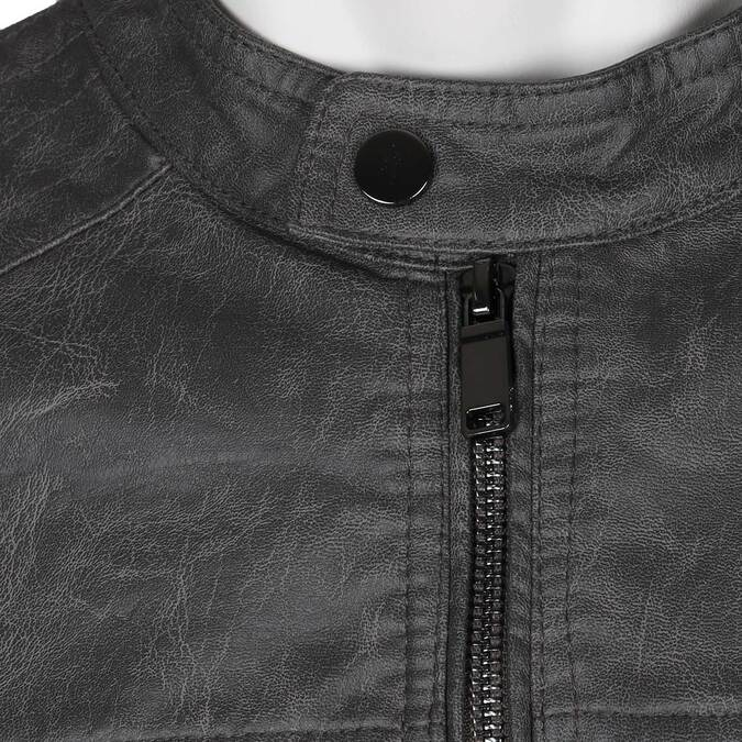 Šedá pánská koženková bunda se zipem bata, šedá, 971-2288 - 16