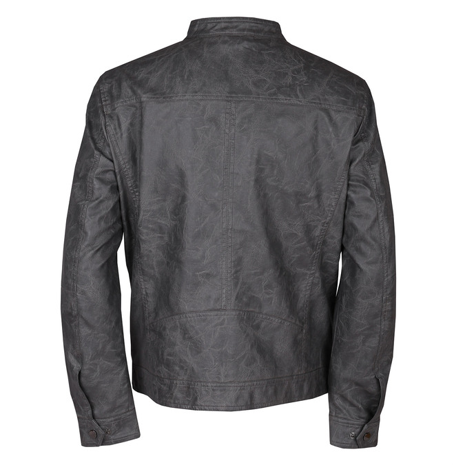 Šedá pánská koženková bunda se zipem bata, šedá, 971-2288 - 26
