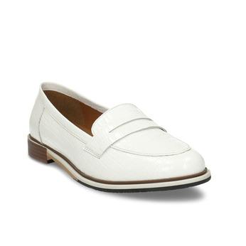 Bílé dámské kožené mokasíny bata, bílá, 518-1600 - 13
